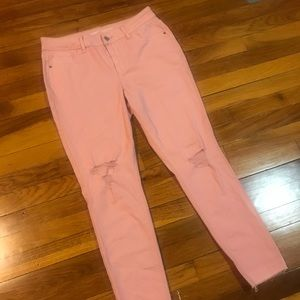 Old Navy Rockstar Mid-Rise Pink Distressed Jeans